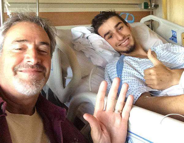 John and Nick Paquette during Nick's hospital stay.