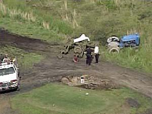 Aerial photo of the accident scene at Cherry Wood Golf Course in Pennsylvania. Photo by KDKA-TV.