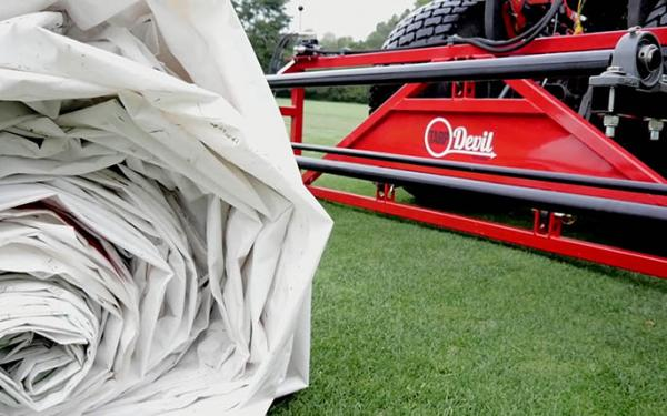 Because it pulls evenly, the TarpDevil reportedly can extend the life of greens covers by as much as 20 percent.