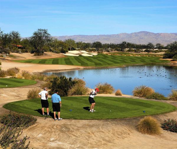 Golf courses in California's Coachella Valley are sporting much less green turf than in year's past. Photo courtesy of LA Times.