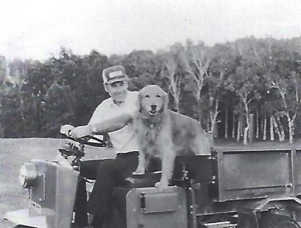 Paul O'Leary and his dog, Dan, at Ekwanok in 1958. Photo courtesy of Ted Maddocks