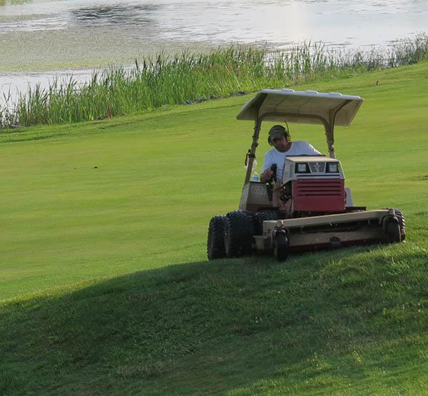 Rick Chapley has been mowing severely sloped areas on Kearney Hill with an eight-wheel Ventrac for years.