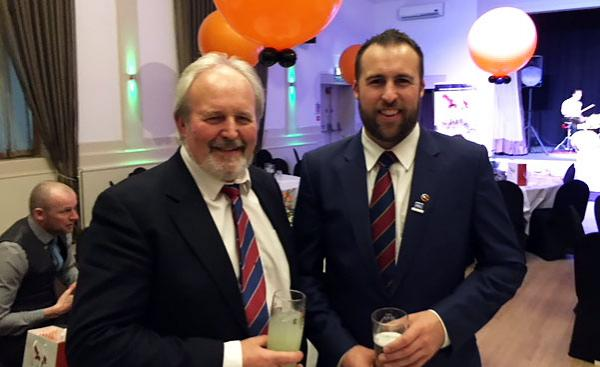 Josh Webber, right, with his father Colin at the STRI dinner.