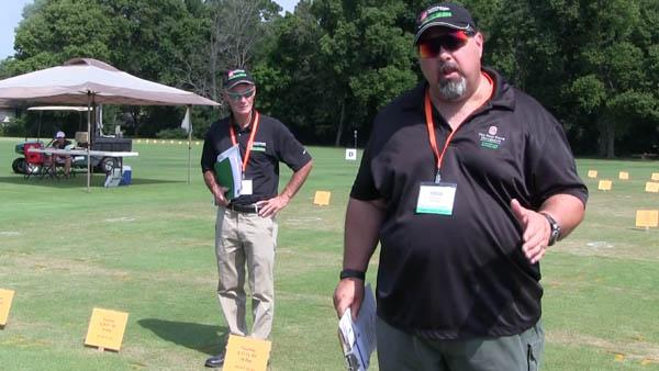 Todd Hicks, right, and Joe Rimelspach, Ph.D., of Ohio State produce a regular series of video updates detailing turf conditions in Ohio and the surrounding area.