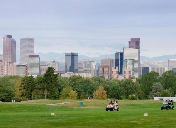 Like many municipal layouts, Denver's City Park Golf Course doubles as a flood-control area.