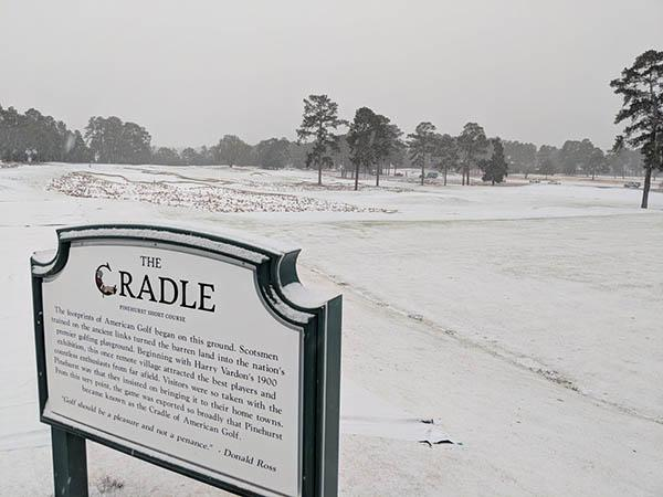 Snow is showing up in record amounts and at a lot of unlikely locations, including The Cradle at Pinehurst Resort. Photo by Pinehurst Resort via Twitter