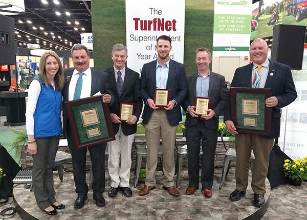 Syngenta turf market manager Stephanie Schwenke with the five Superintendent of the Year finalists: Jorge Croda, Mark Hoban, Chris Ortmeier, Josh Pope and Rick Tegtmeier.