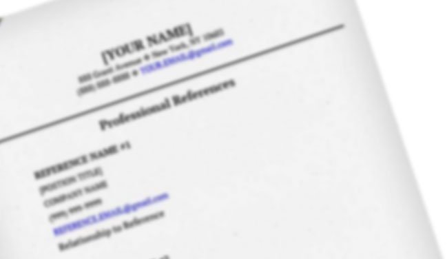 Resumes: Guidelines for Professional References