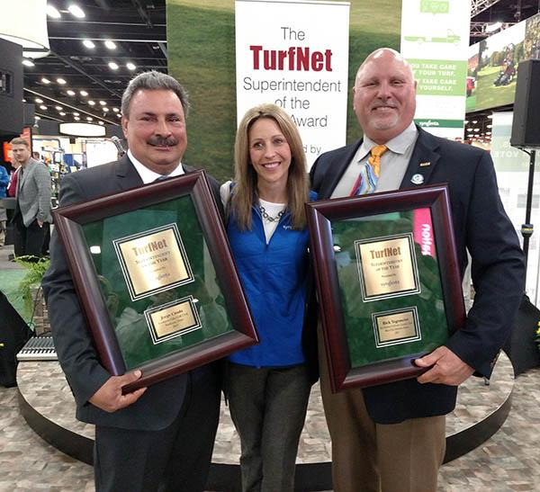 Stephanie Schwenke, turf market manager for Syngenta, presents Jorge Croda (left) and Rick Tegtmeier with the Superintendent of the Year award.