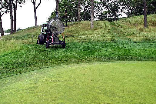 Whether they are portable or permanent, fans can help ward off summer stress on cool-season putting greens.