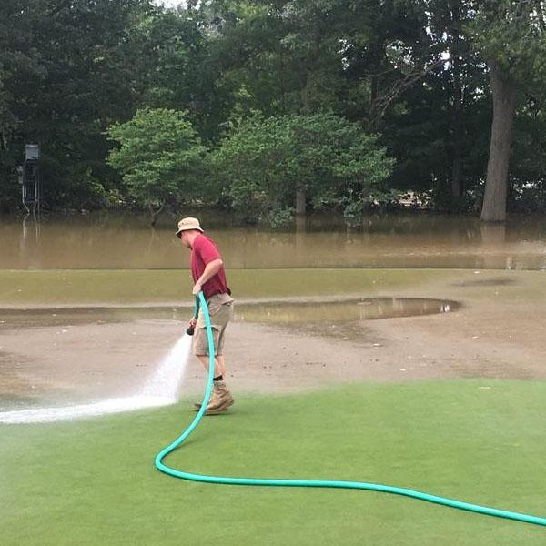 Brian Heydinger's crew was ready to hose silt off greens the second the Blanchard River receded from the golf course.