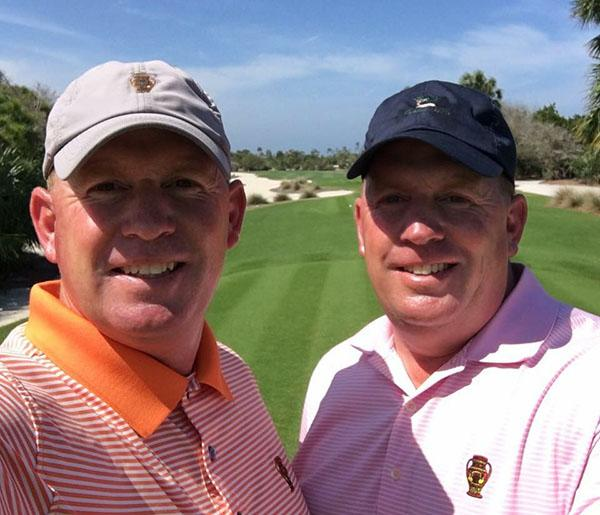 Jim Colo, left, works at Naples National Golf Club, while twin brother John plies his trade at Jupiter Hills Club in Tequesta.