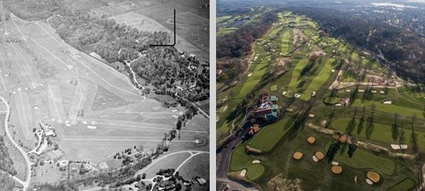 These two aerial images compare Moraine as it looked for the 1945 PGA Championship (left) and after the Keith Foster-led restoration. Photos courtesy of Dittoe Public Relations