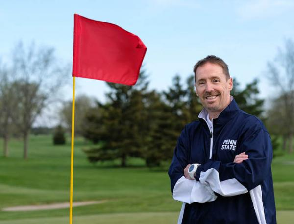 Being legally blind hasn't stopped Monty Elam from earning a degree in turf management and pursuing a master's degree. Photo by Jeremy Wadsworth via Penn State.