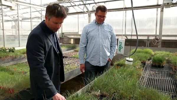 Research by Brian Horgan, Ph.D., (left) of the University of Minnesota, could help turf managers reduce off-site runoff. Photo by the USGA
